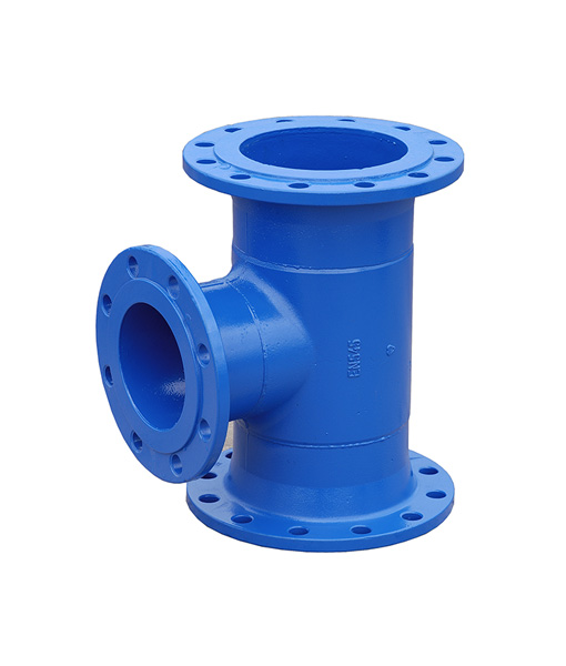 Ductile iron flanged equal tee for potable water blue