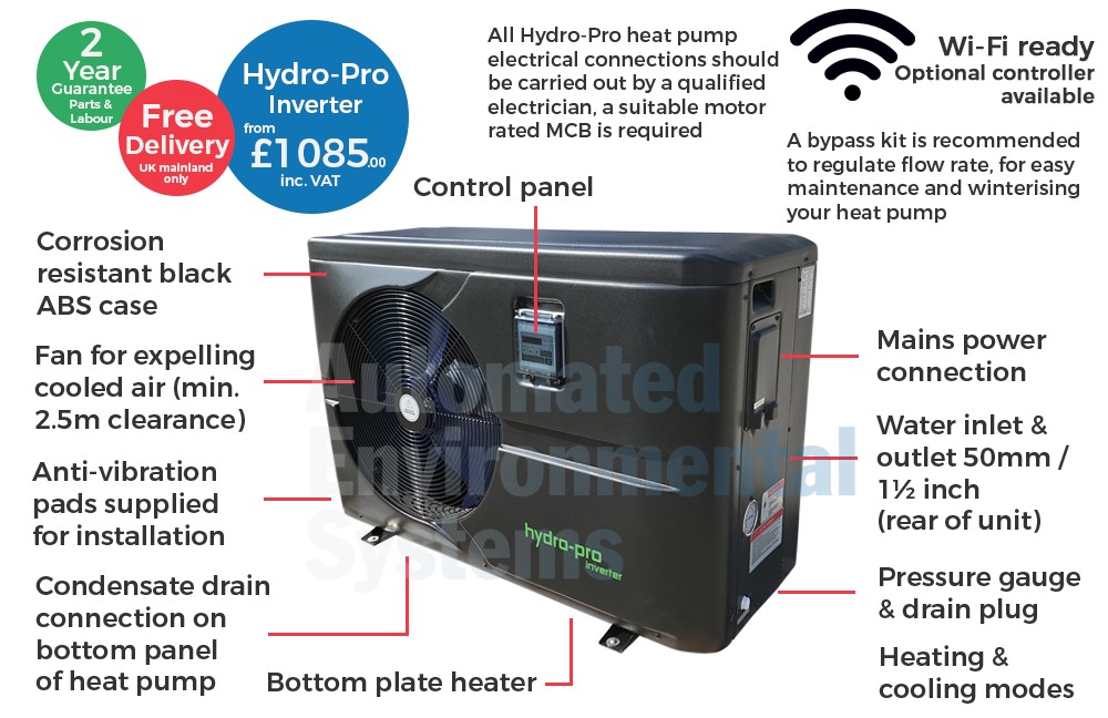 Hydropro 7kw Abs Inverter Swimming Pool Heat Pump Ebay